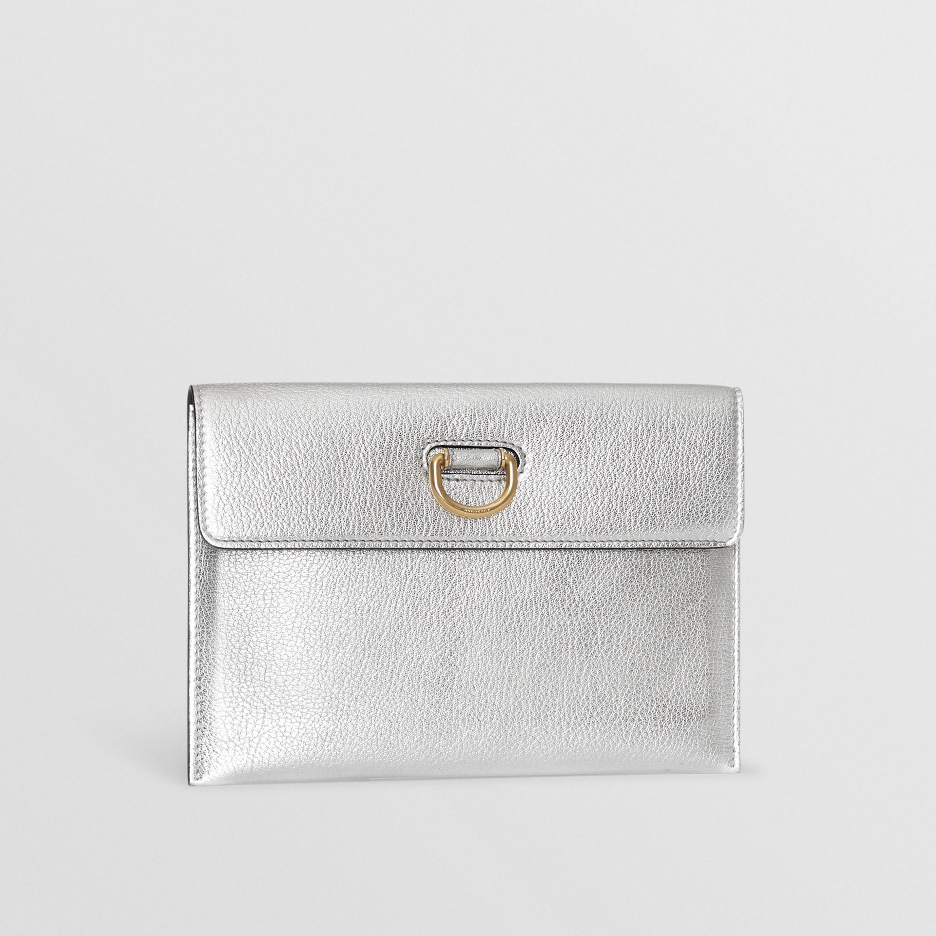 D-ring Metallic Leather Pouch with Zip Coin Case in Silver - Women | Burberry - gallery image 7