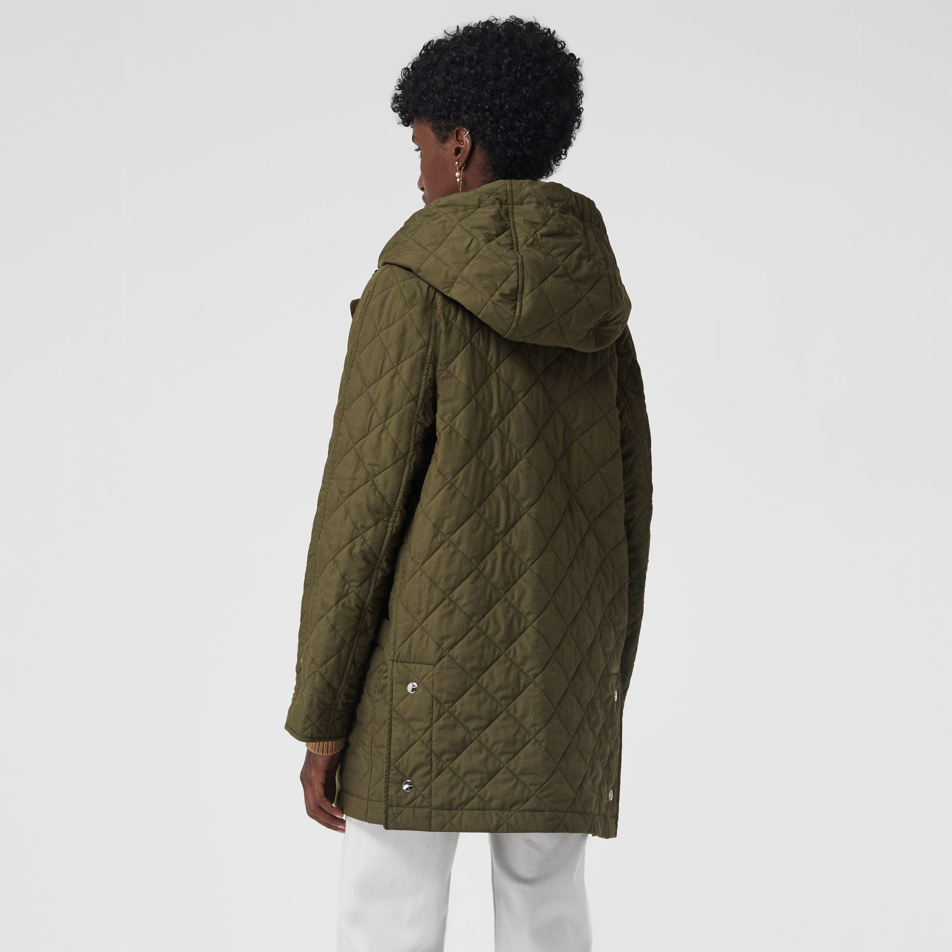 Lightweight Diamond Quilted Hooded Parka in Olive - Women | Burberry - gallery image 2