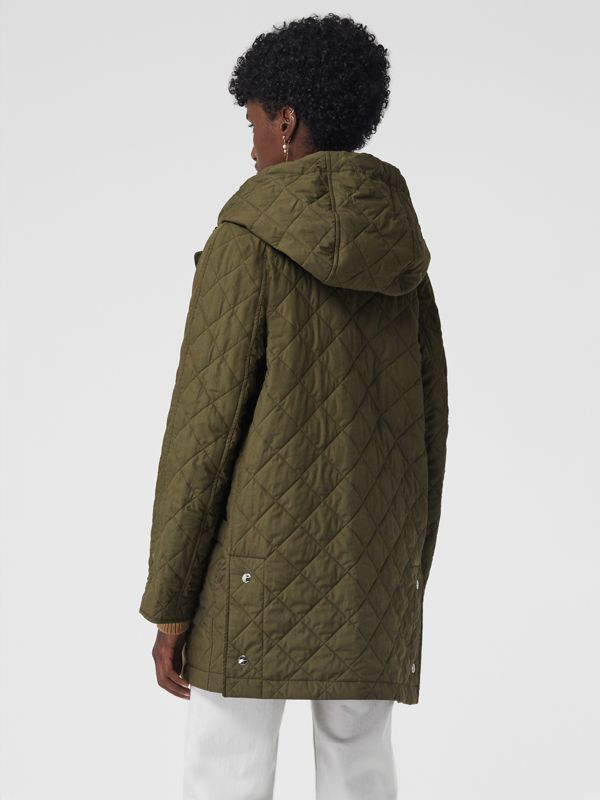 Diamond Quilted Oversized Hooded Parka in Olive - Women | Burberry - cell image 2