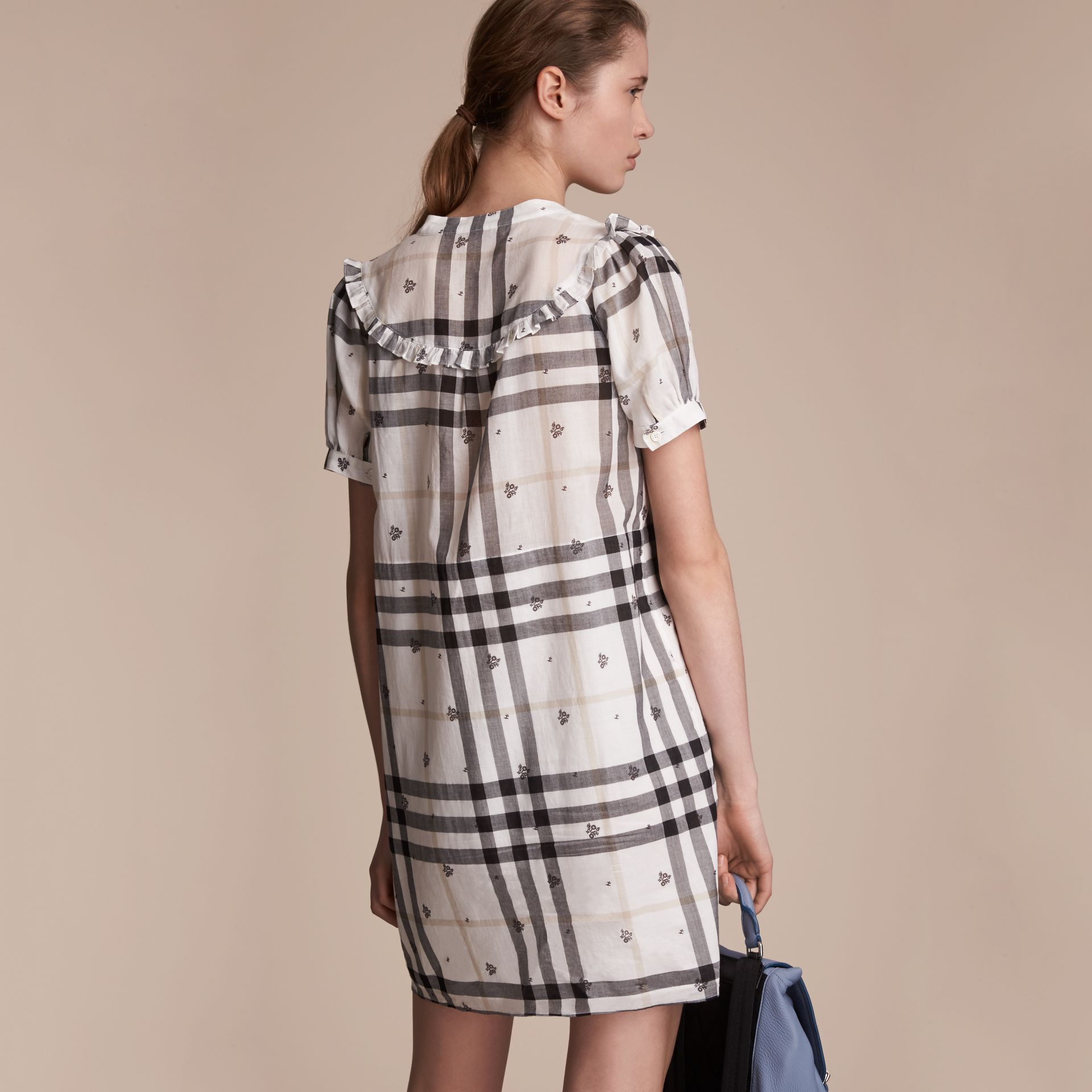 Ruffle Detail Floral Print Check Cotton Dress in White - Women | Burberry Singapore - gallery image 3