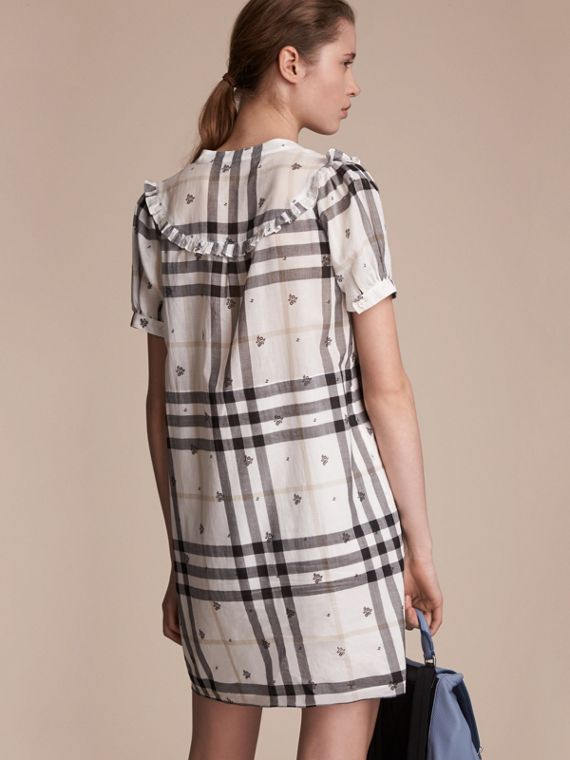 Ruffle Detail Floral Print Check Cotton Dress in White - Women | Burberry Singapore - cell image 2