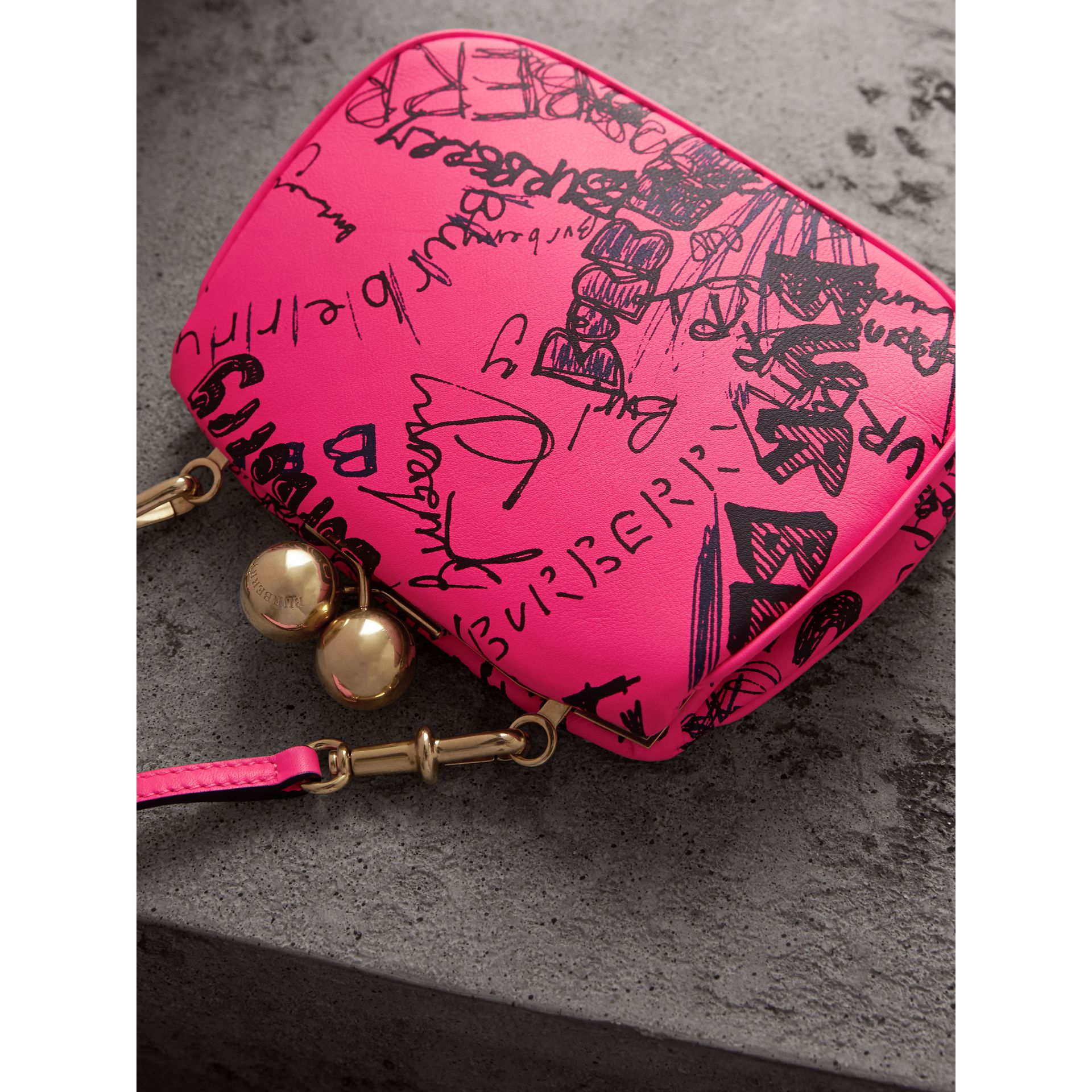Small Doodle Print Leather Metal Frame Clutch Bag in Neon Pink - Women | Burberry - gallery image 4