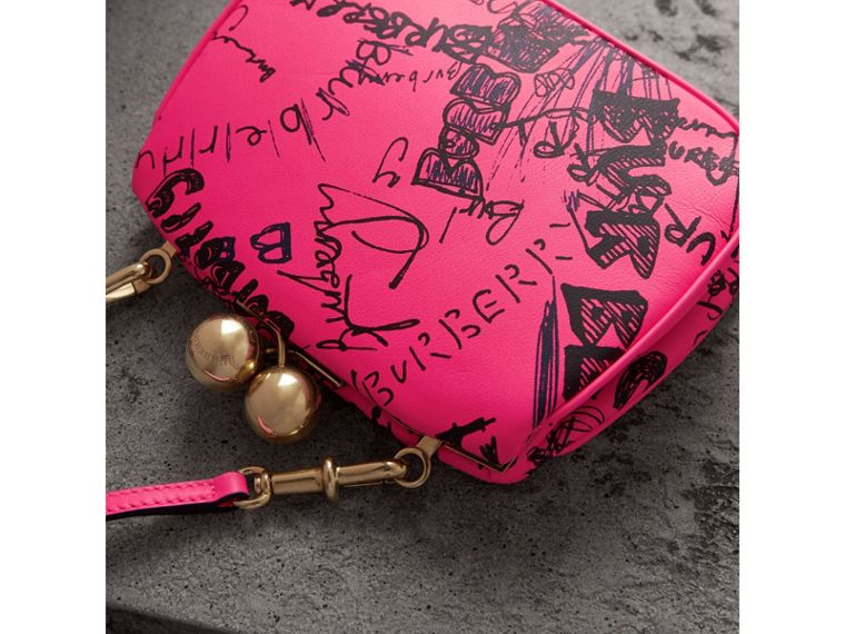Small Doodle Print Leather Metal Frame Clutch Bag in Neon Pink - Women | Burberry - cell image 4