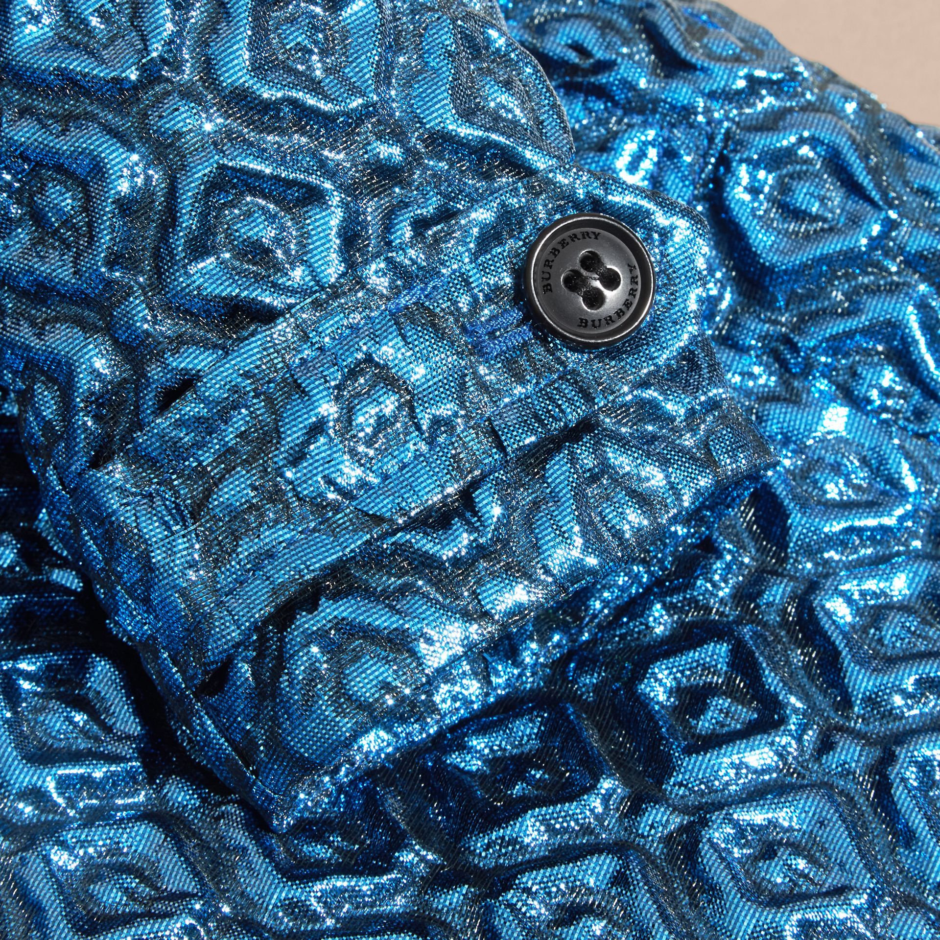 Diamond Matelassé Cocoon Coat in Steel Blue - gallery image 2
