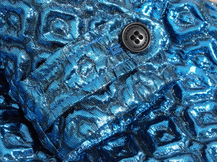 Steel blue Diamond Matelassé Cocoon Coat Steel Blue - cell image 1
