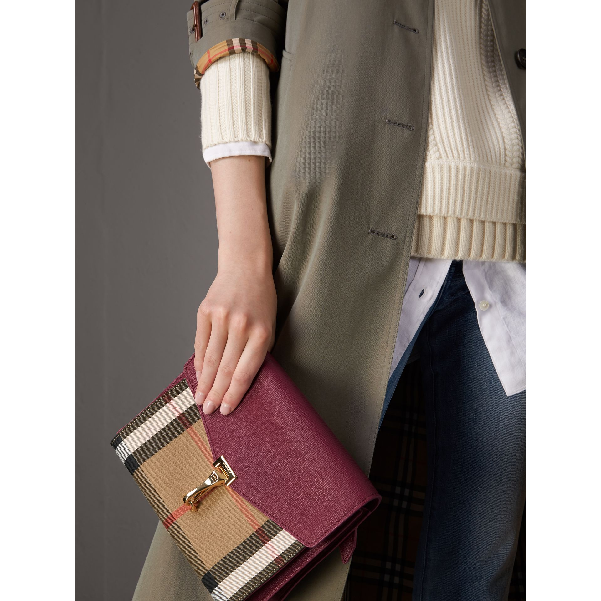 Small Leather and House Check Crossbody Bag in Berry Pink - Women | Burberry - gallery image 4