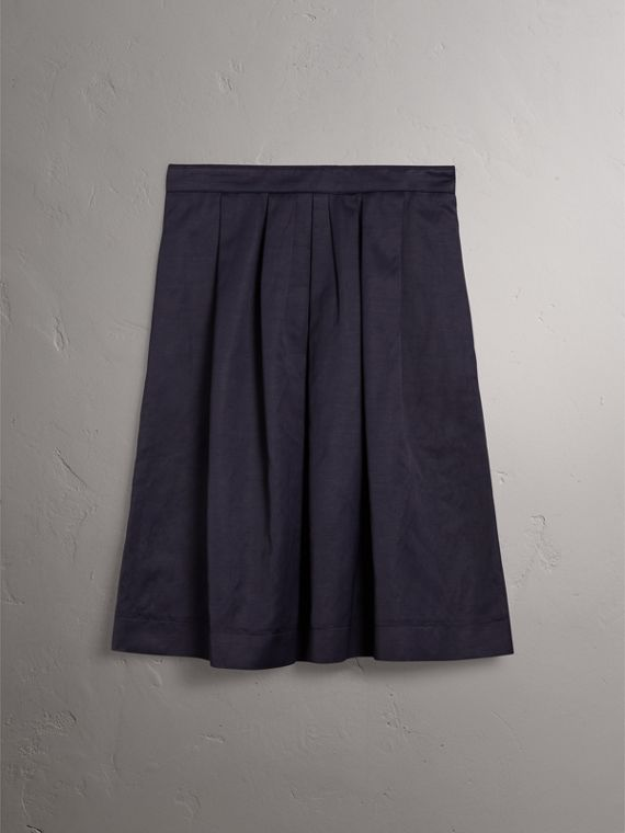 Pleated Linen Cotton Blend Skirt in Navy - Women | Burberry - cell image 3