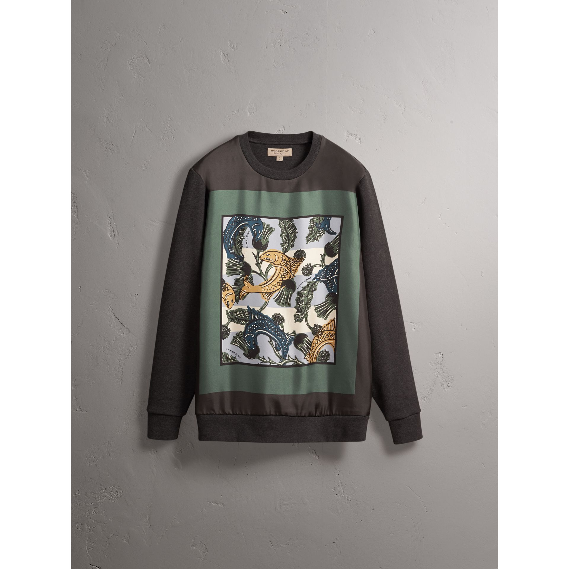 Unisex Beasts Print Silk Panel Cotton Sweatshirt in Charcoal Melange - Women | Burberry - gallery image 4