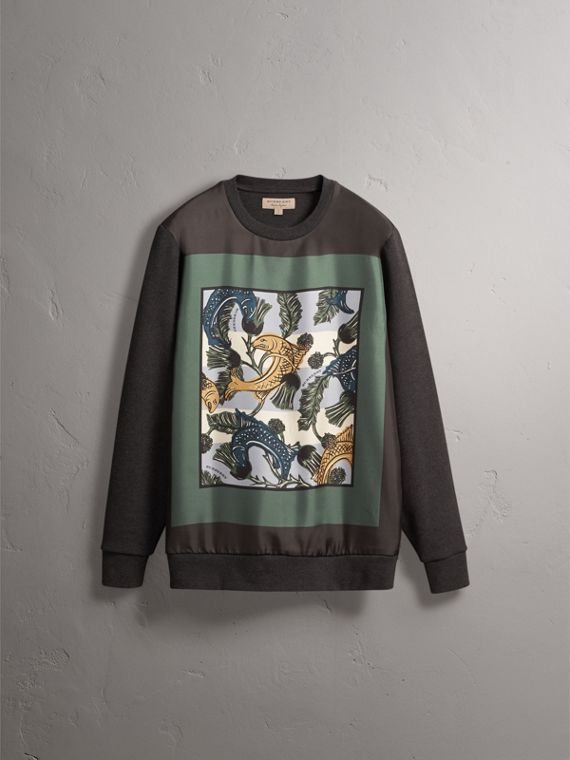 Unisex Beasts Print Silk Panel Cotton Sweatshirt in Charcoal Melange - Women | Burberry - cell image 3