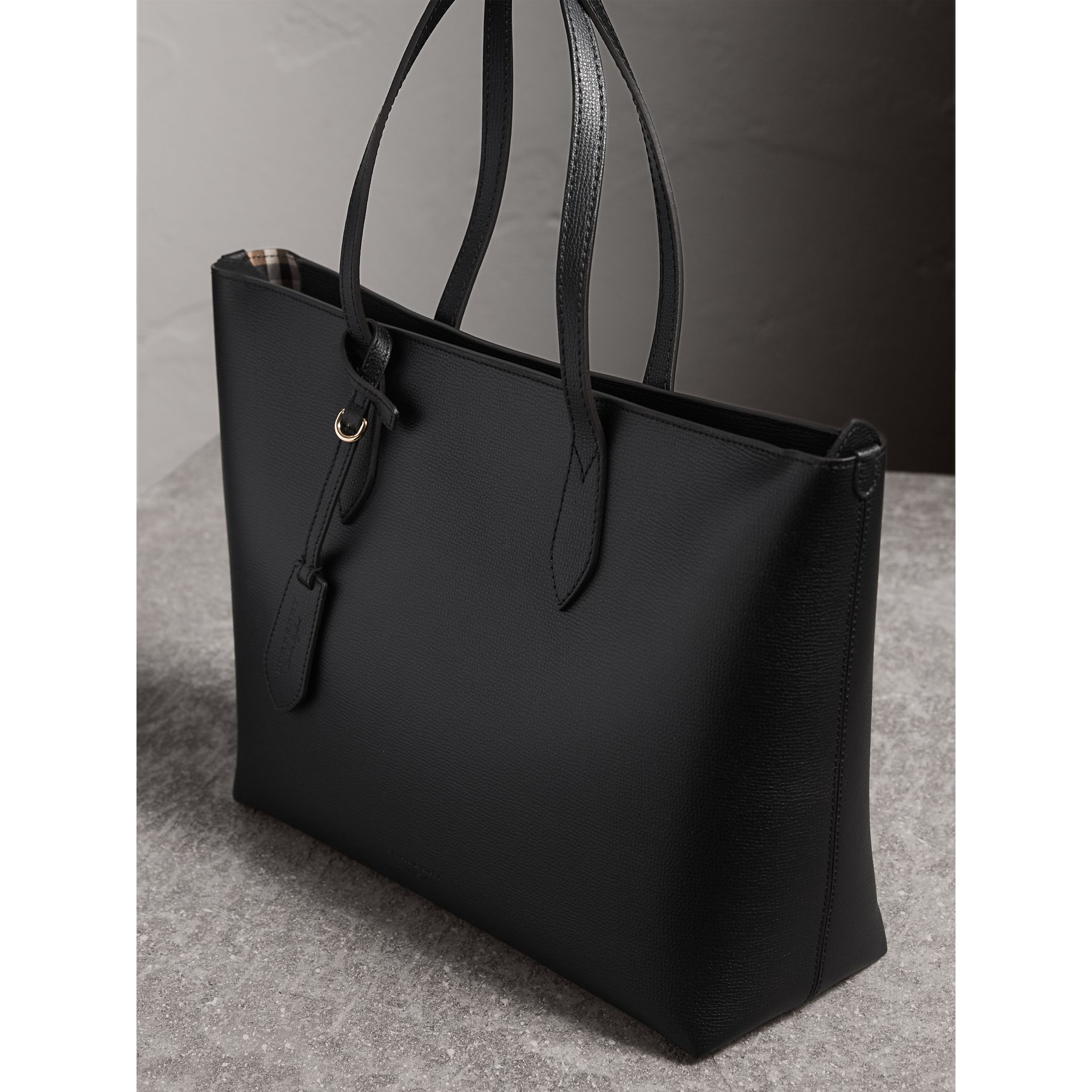 Medium Coated Leather Tote in Black - Women | Burberry - gallery image 5