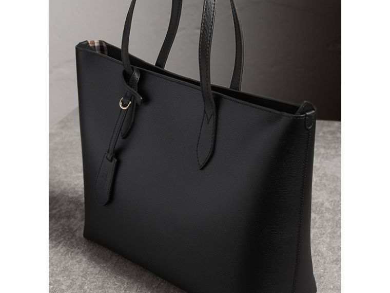 Medium Coated Leather Tote in Black - Women | Burberry - cell image 4
