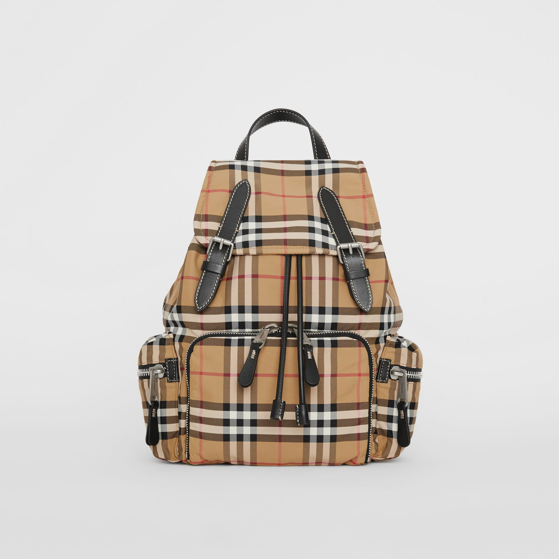 The Medium Rucksack in Vintage Check Nylon in Antique Yellow - Women | Burberry Singapore - gallery image 0
