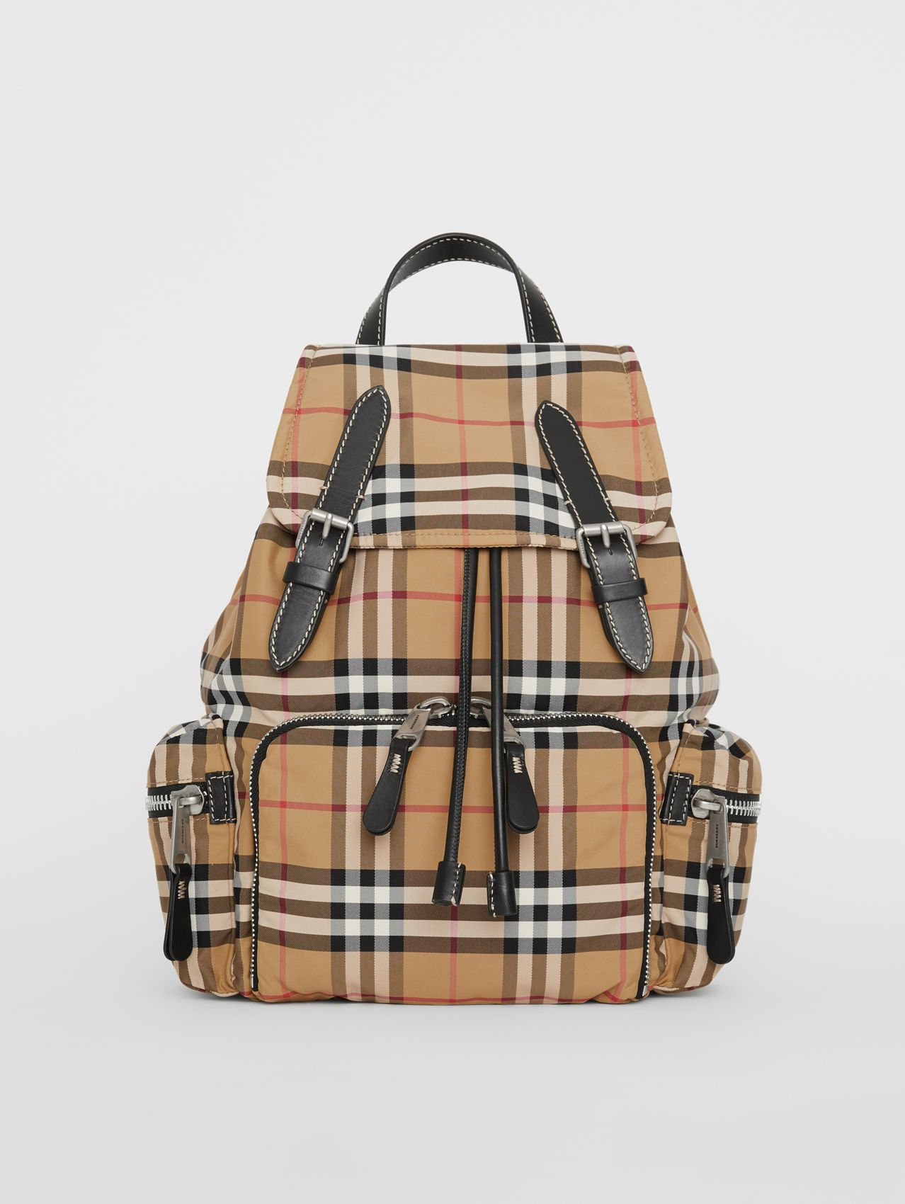 The Medium Rucksack in Vintage Check Nylon in Antique Yellow