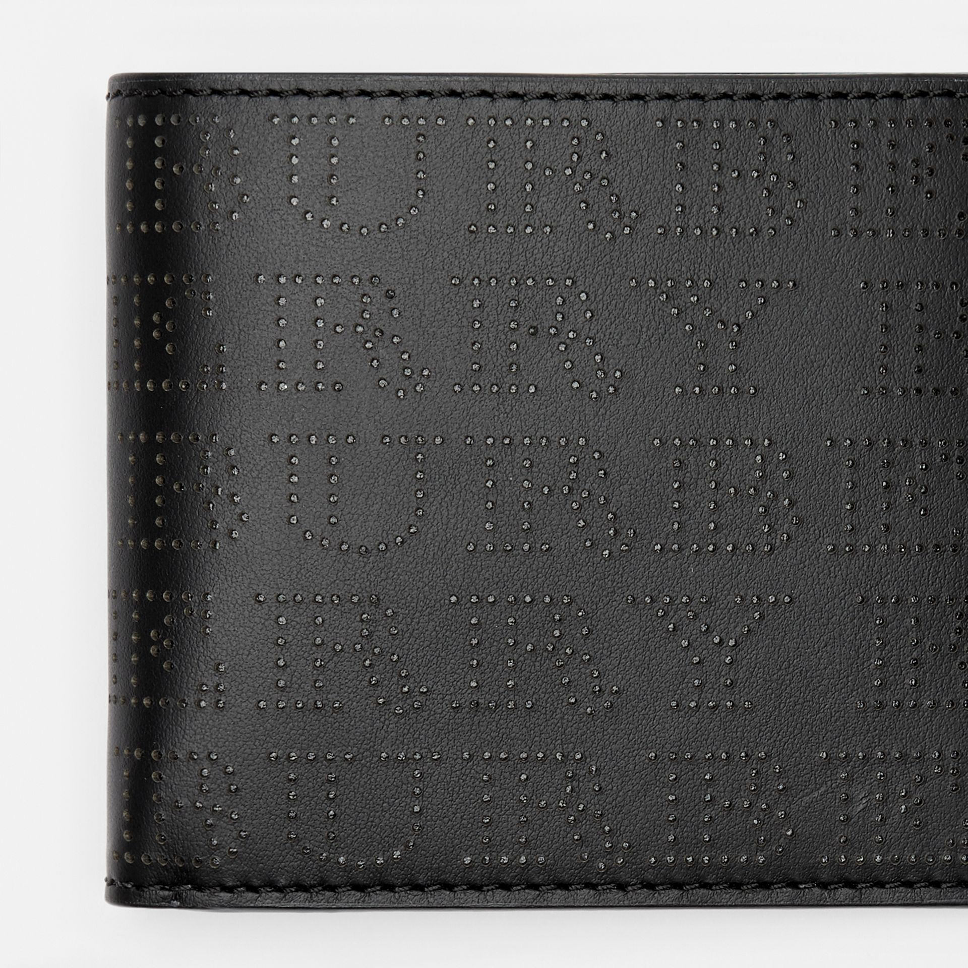 Perforated Logo Leather International Bifold Wallet in Black - Men | Burberry United States - gallery image 1