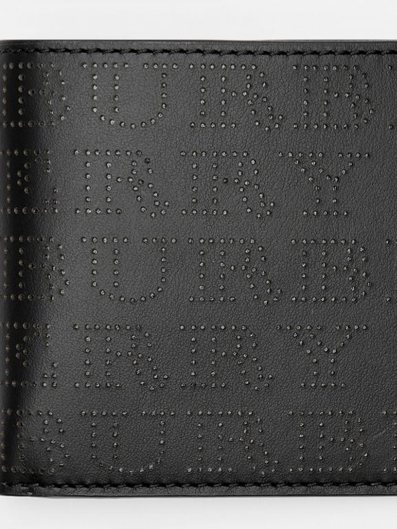 Perforated Logo Leather International Bifold Wallet in Black - Men | Burberry United States - cell image 1