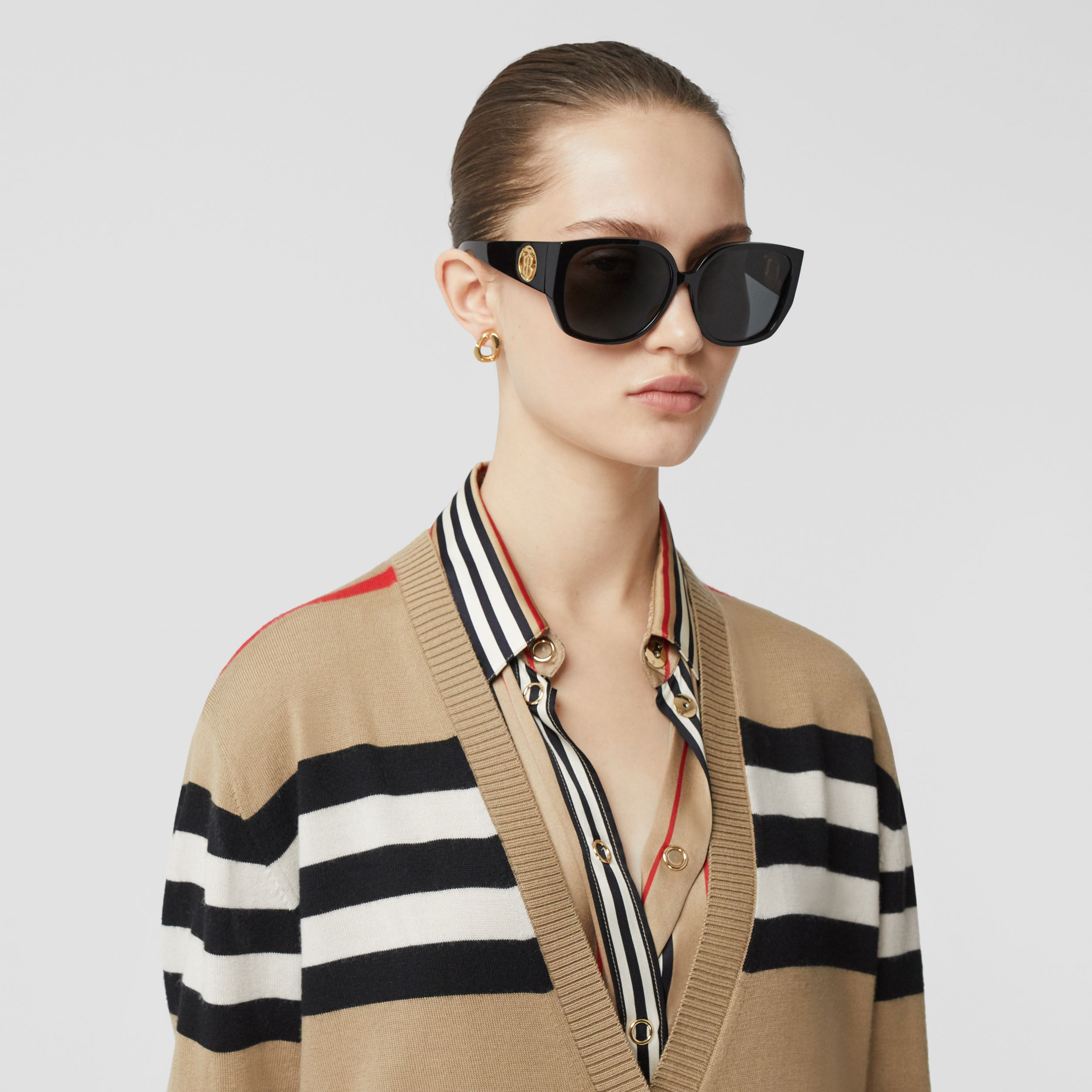 Icon Stripe Merino Wool Cardigan in Archive Beige - Women | Burberry - 2