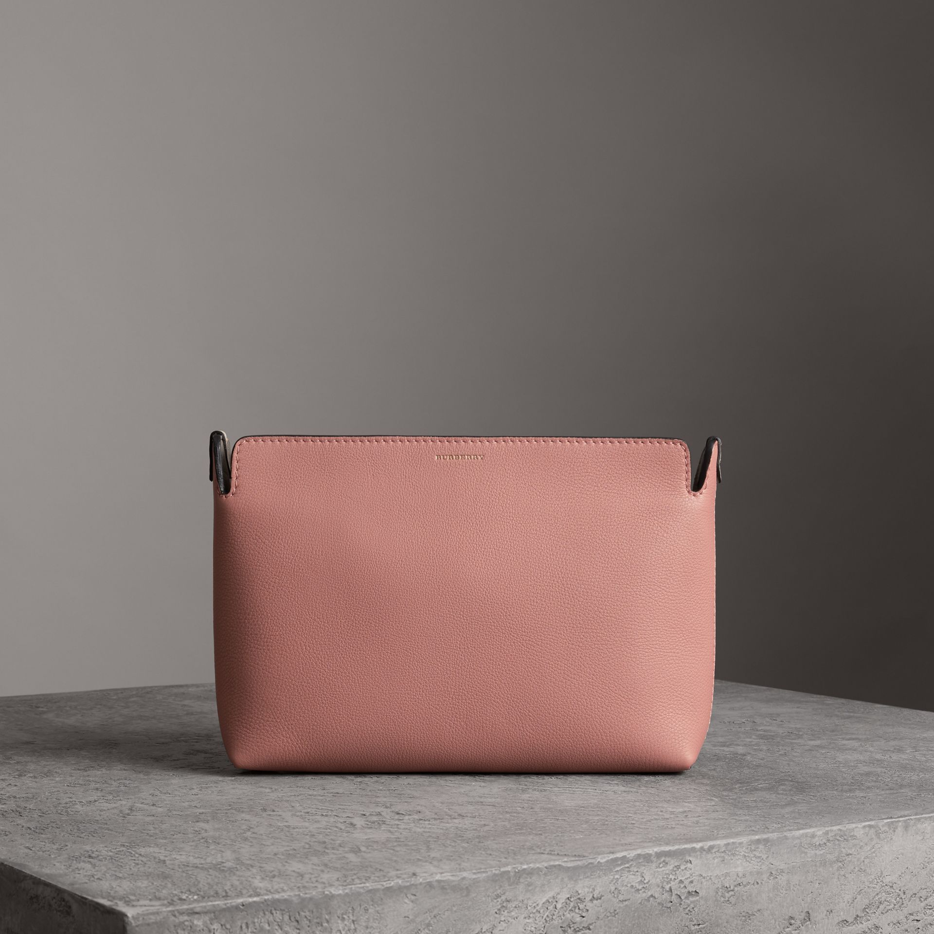 Medium Tri-tone Leather Clutch in Dusty Rose/limestone | Burberry Australia - gallery image 0