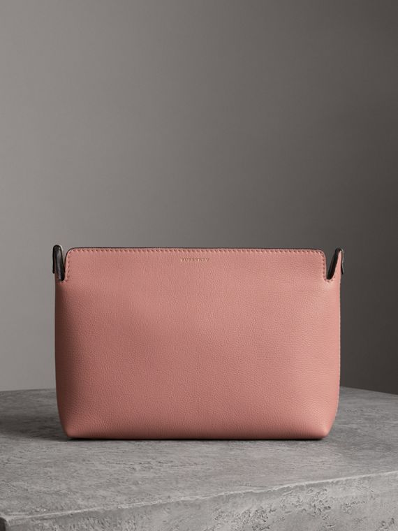 Medium Tri-tone Leather Clutch in Dusty Rose/limestone