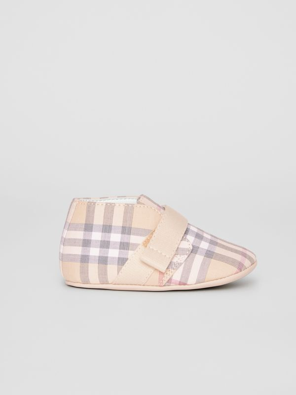 Check Cotton and Leather Shoes in Pale Stone - Children | Burberry - cell image 3