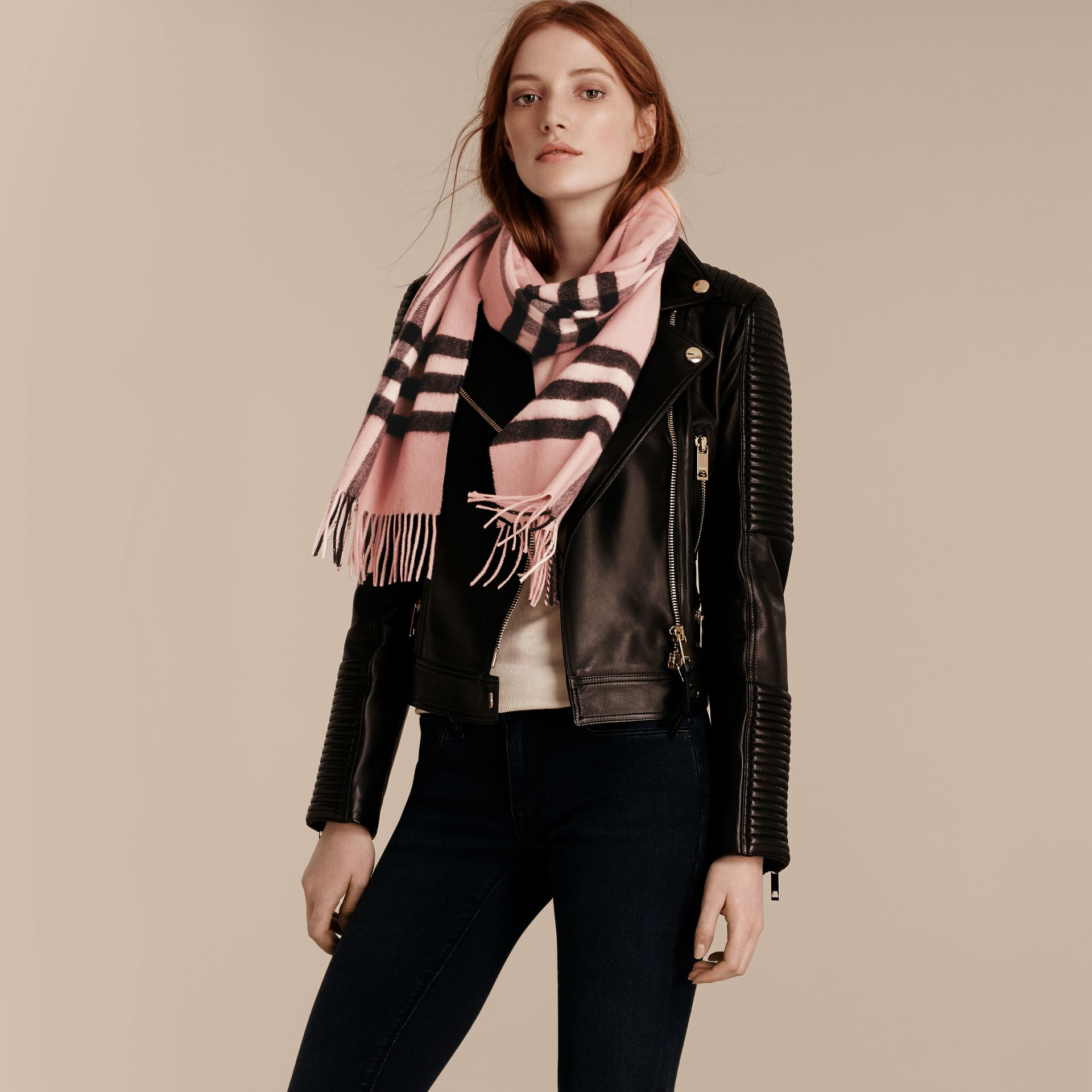 Ash rose The Classic Cashmere Scarf in Check Rose - gallery image 3