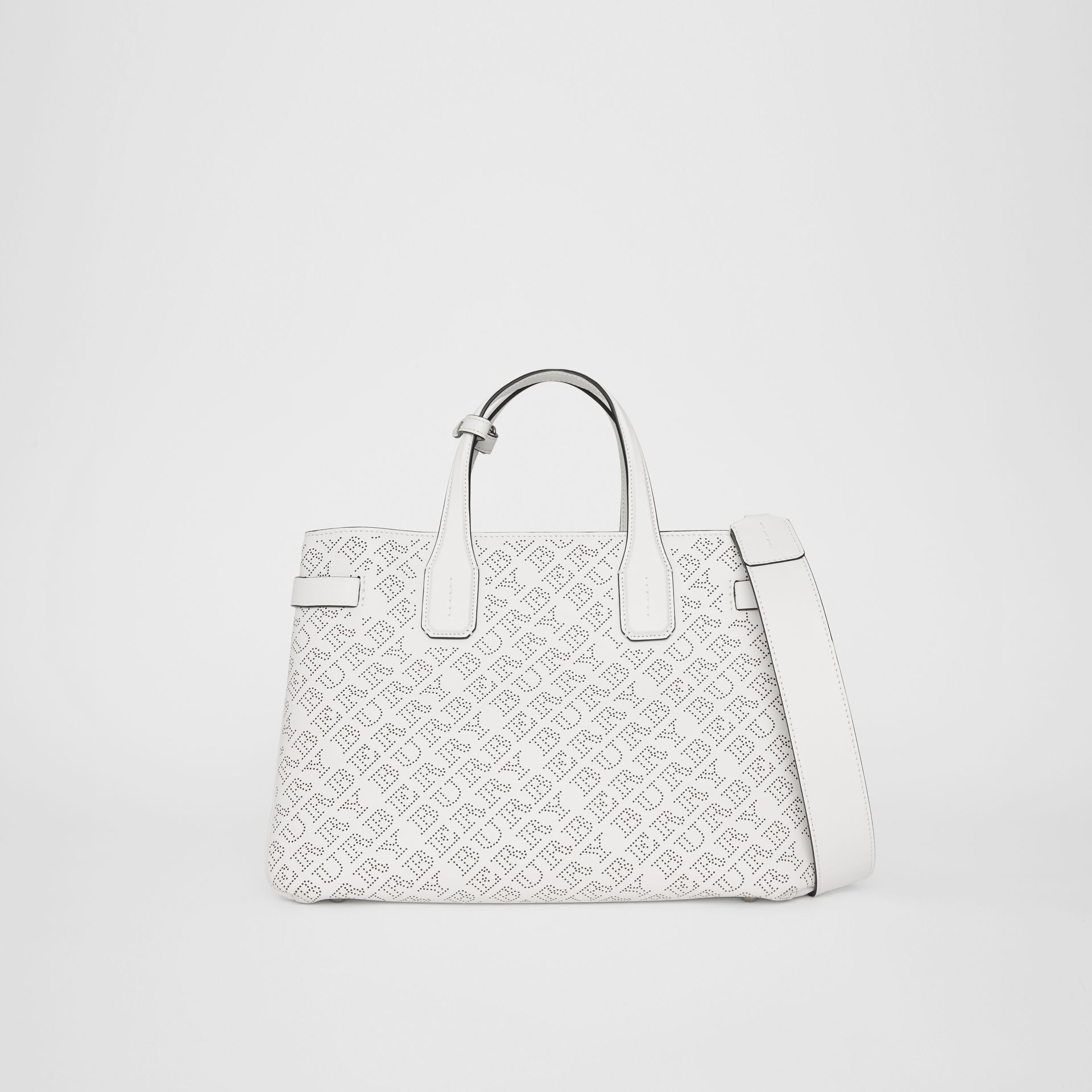 The Medium Banner in Perforated Logo Leather in Chalk White - Women | Burberry - gallery image 0