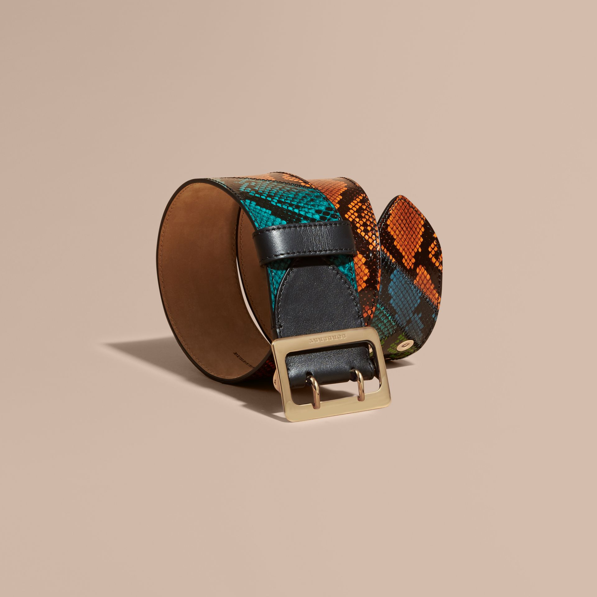 Snakeskin Intarsia Waist Belt in Bright Toffee - Women | Burberry - gallery image 1