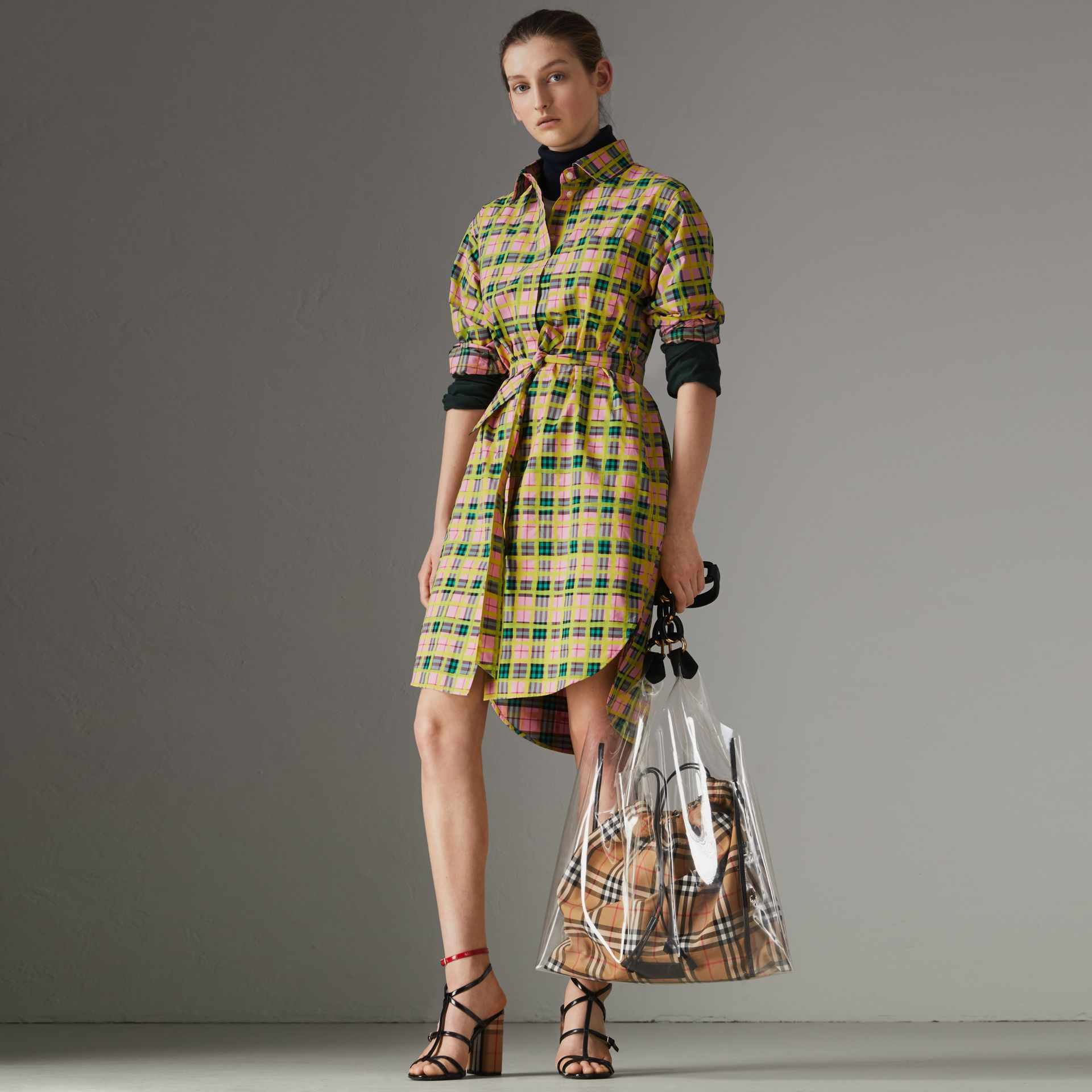 Painted Check Cotton Tie-waist Shirt Dress in Bright Coral Pink - Women | Burberry - gallery image 0