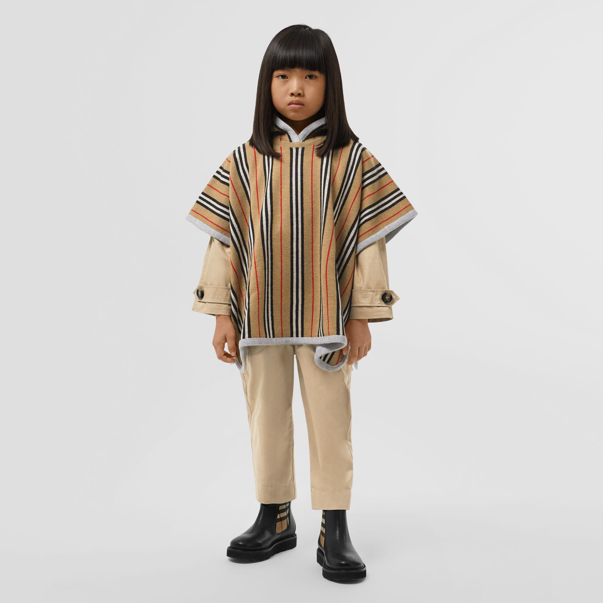 Reversible Icon Stripe Merino Wool Hooded Poncho in Archive Beige - Girl | Burberry - gallery image 2