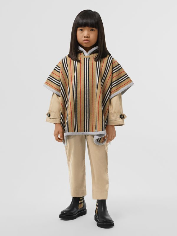 Reversible Icon Stripe Merino Wool Hooded Poncho in Archive Beige - Girl | Burberry - cell image 2