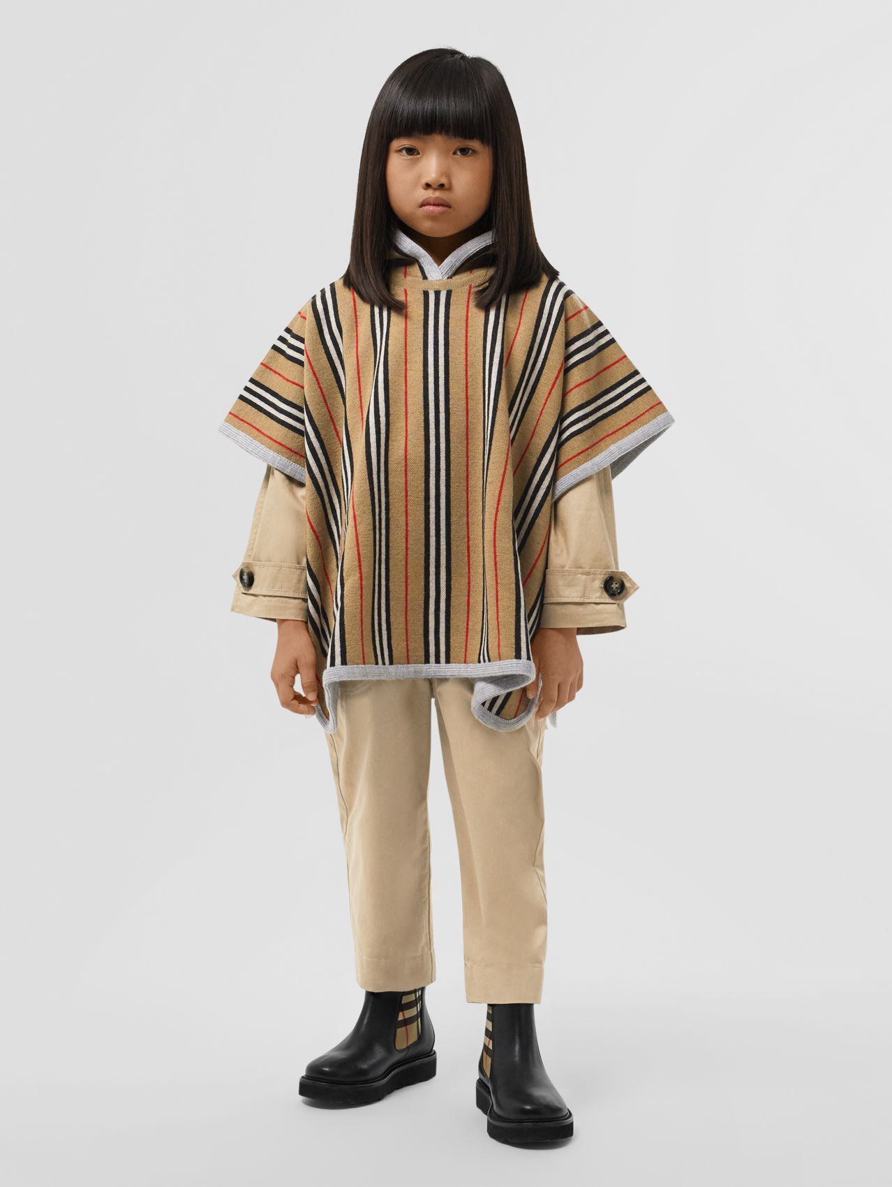 Reversible Icon Stripe Merino Wool Hooded Poncho in Archive Beige