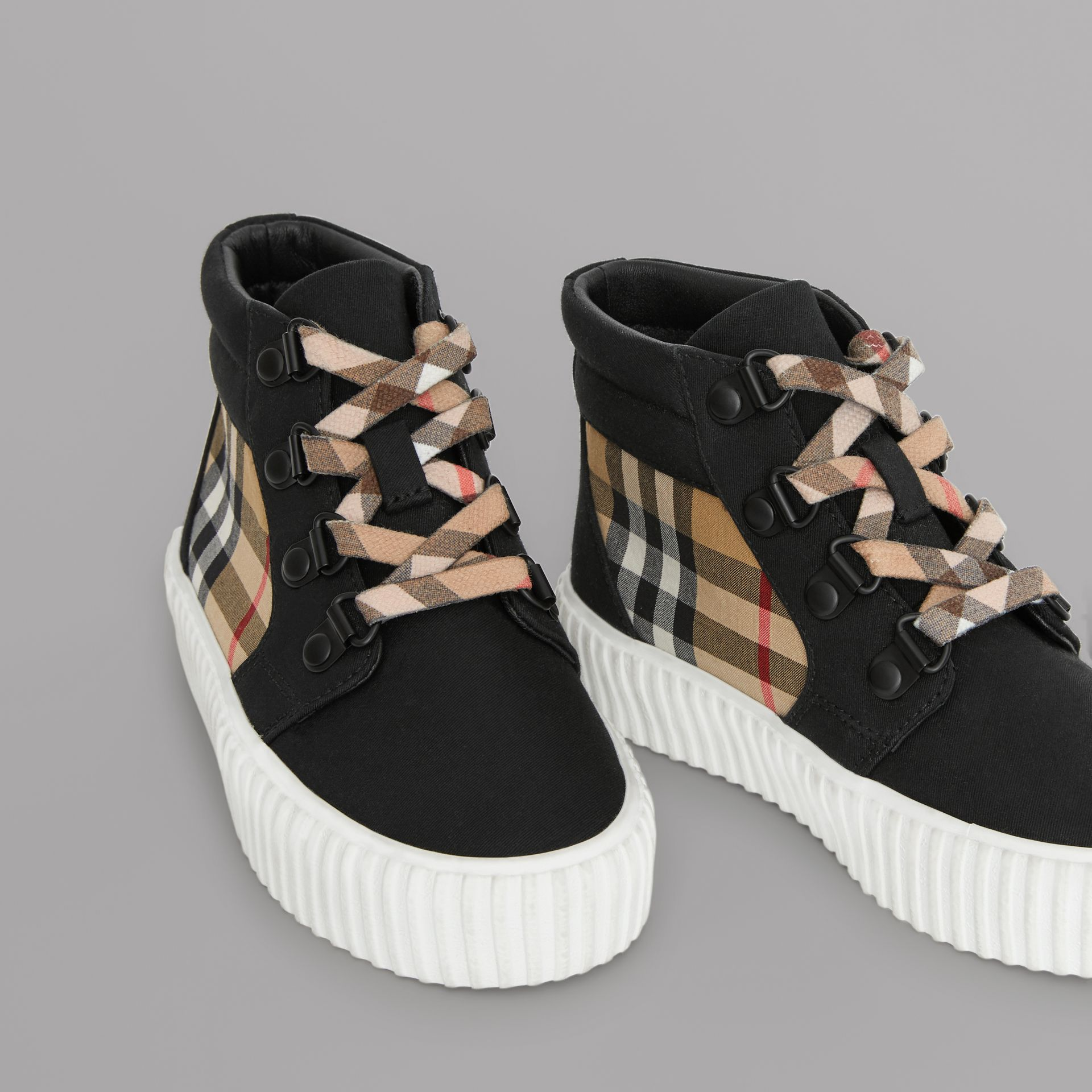Vintage Check Detail High-top Sneakers in Black/antique Yellow - Children | Burberry - gallery image 1
