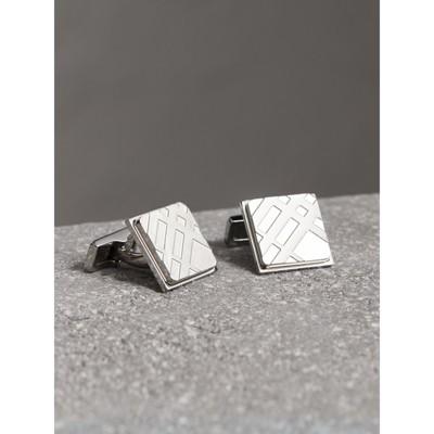 Burberry Check-engraved Round Cufflinks, Grey