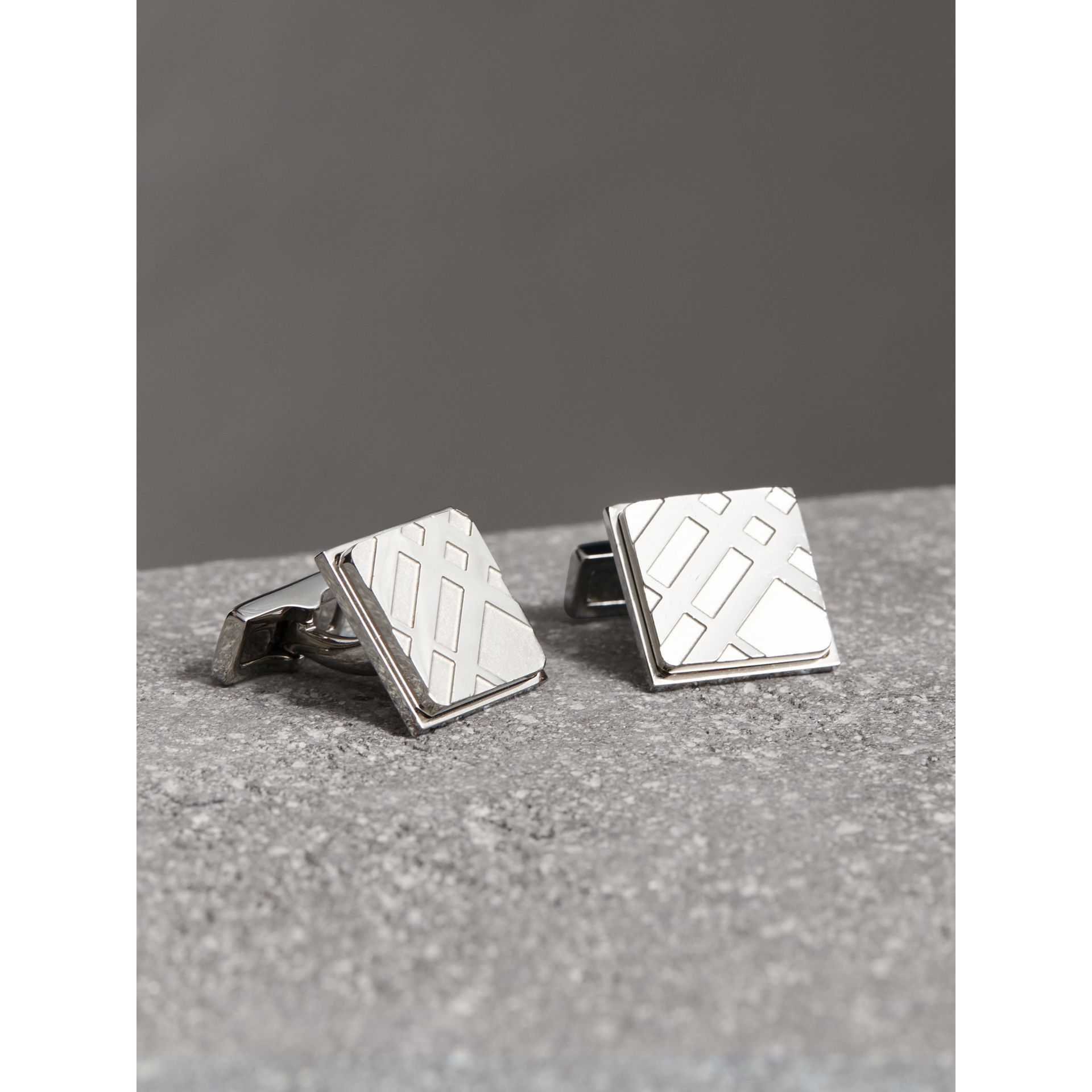 Check-engraved Square Cufflinks in Silver - Men | Burberry - gallery image 0