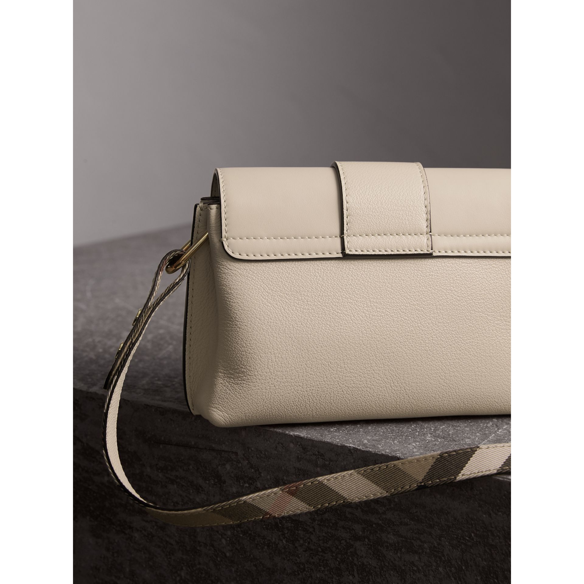 The Buckle Crossbody Bag in Leather in Limestone - Women | Burberry - gallery image 4