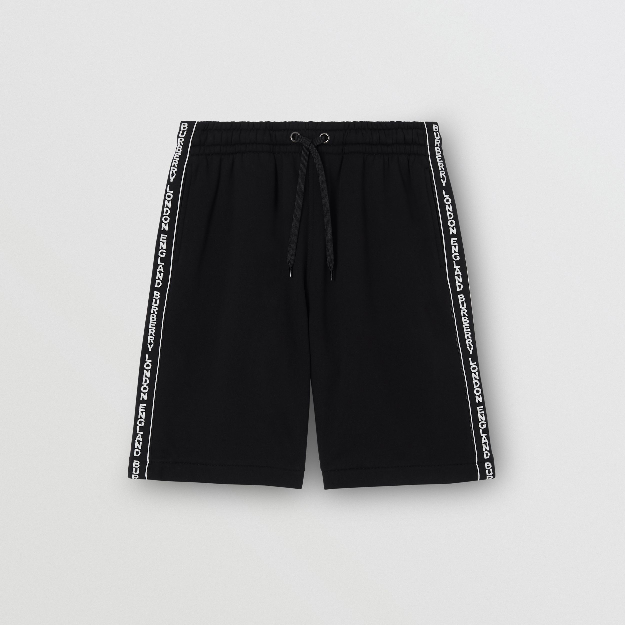Logo Tape Cotton Drawcord Shorts in Black - Men | Burberry Australia - 4