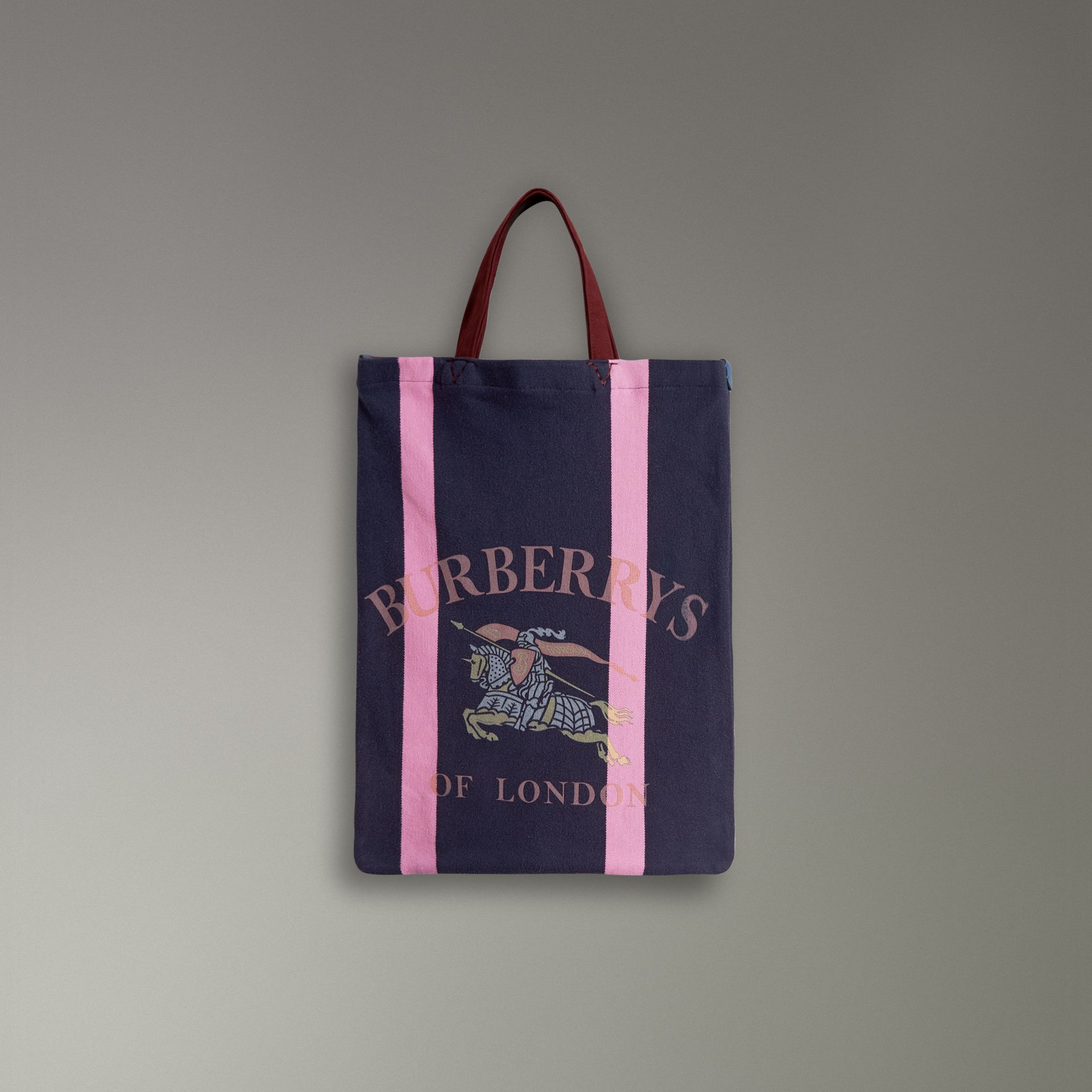 Medium Archive Logo Jersey Shopper in Navy/rose Pink | Burberry Australia - gallery image 0