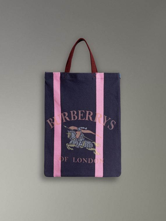 Medium Archive Logo Jersey Shopper in Navy/rose Pink