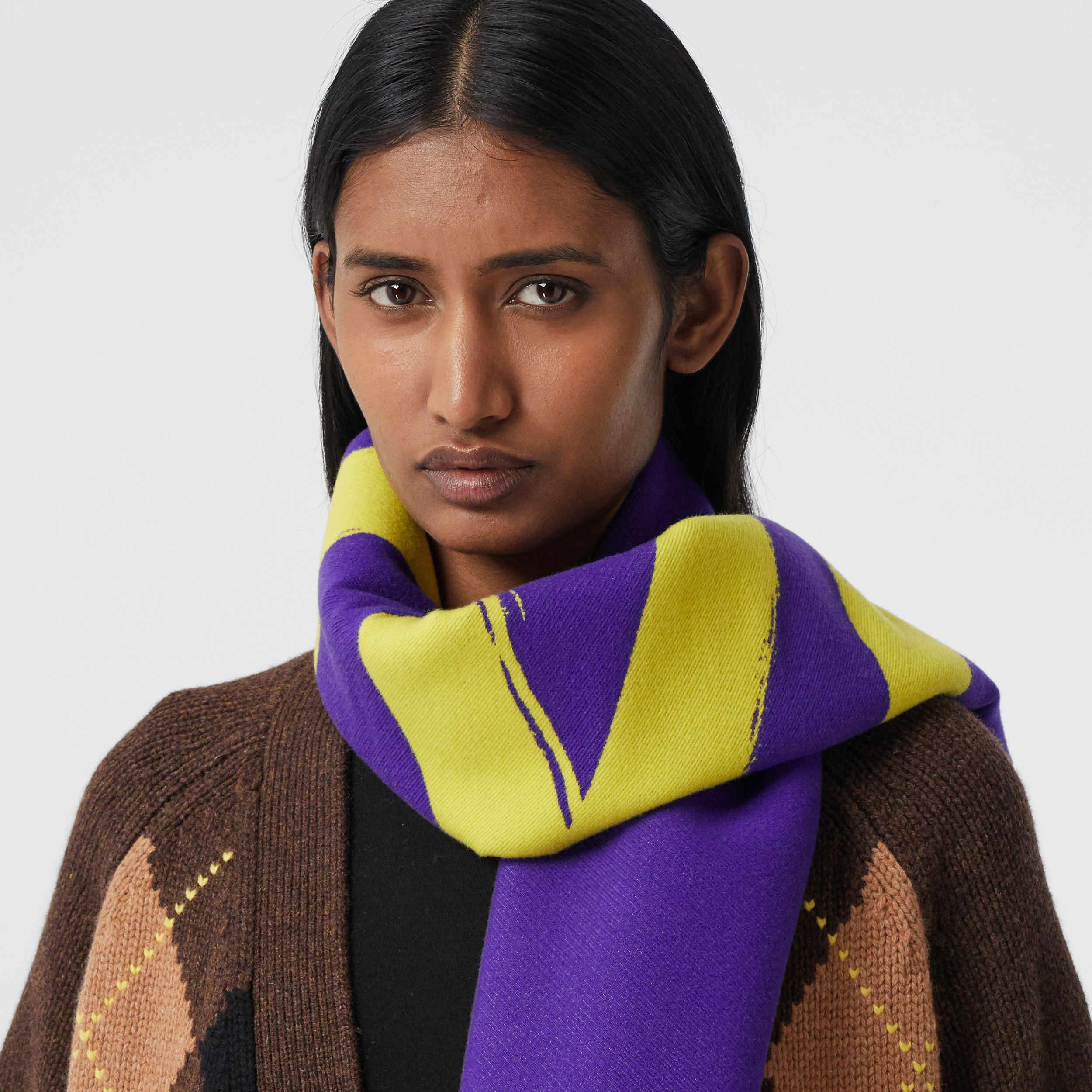 Love and Logo Wool Silk Jacquard Scarf in Yellow | Burberry Australia - 3