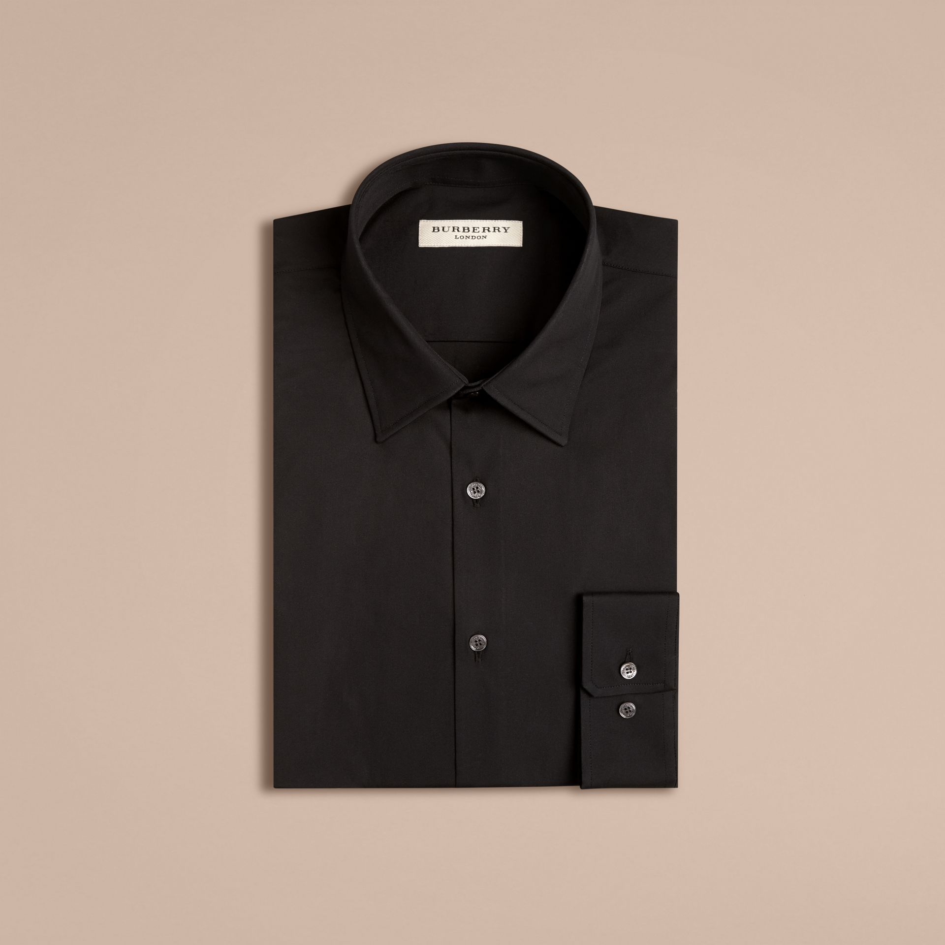 Modern Fit Stretch Cotton Shirt in Black - Men | Burberry - gallery image 4