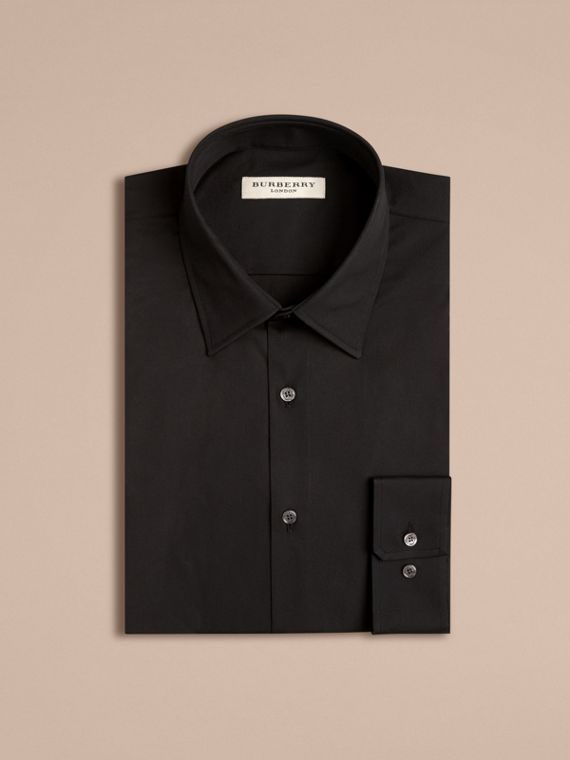 Modern Fit Stretch Cotton Shirt in Black - Men | Burberry Singapore