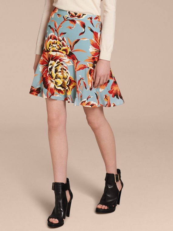 Floral Flared-hem Silk Skirt