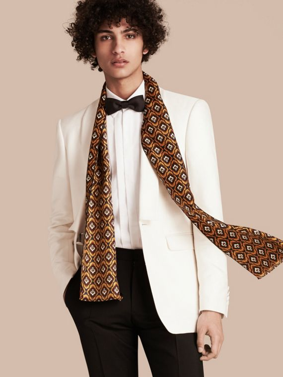 Umber yellow Tie-inspired Print Silk Scarf - cell image 2