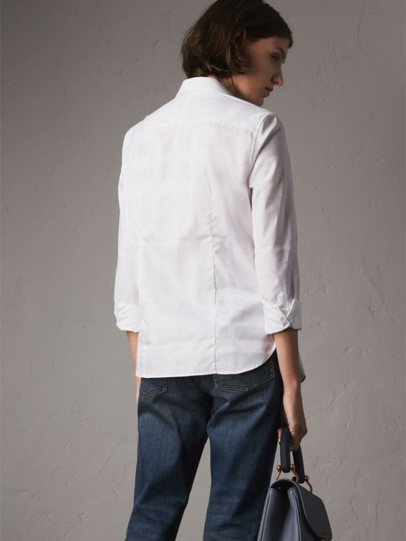 Check Jacquard Cotton Shirt in White - Women | Burberry - cell image 2