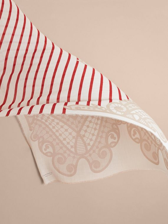 Lace and Breton Stripe Print Cashmere Silk Scarf in Natural White - Women | Burberry - cell image 3