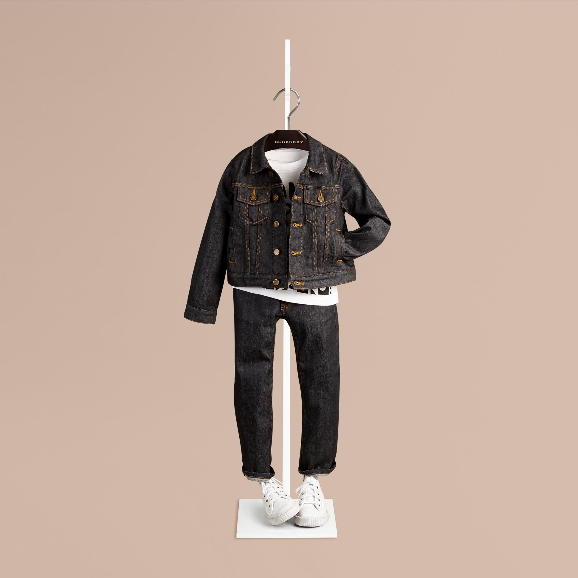 Dark indigo Jaqueta de tecido jeans japonês com detalhe xadrez - galeria de imagens 1