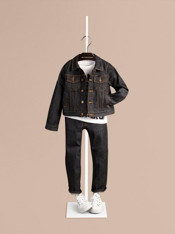 格紋細節設計日本丹寧外套