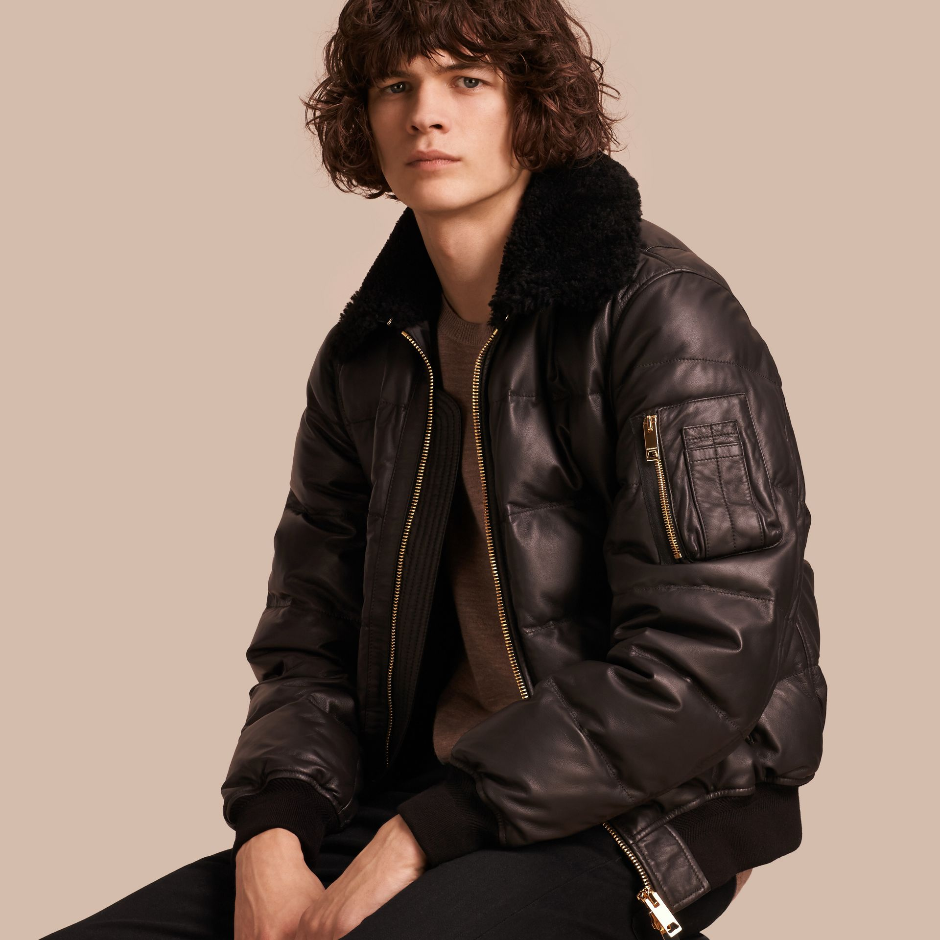 Chocolate brown Down-filled Lambskin Bomber Jacket with Shearling Collar - gallery image 1
