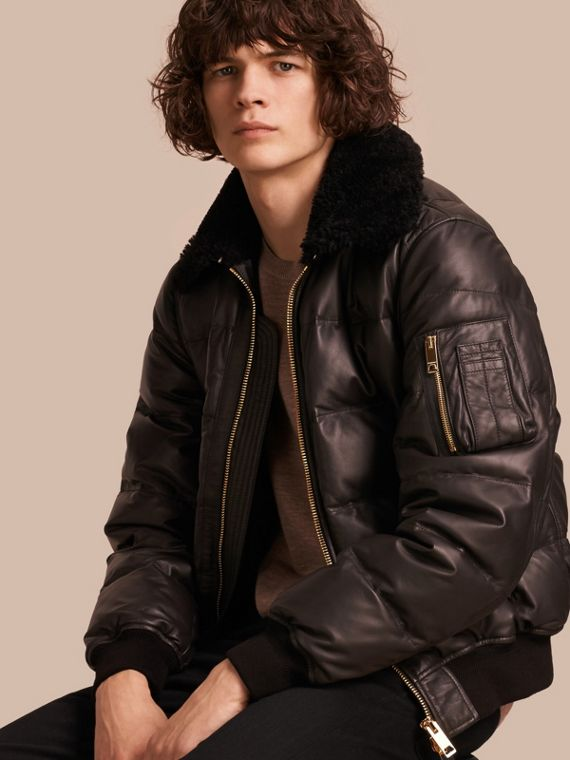 Down-filled Lambskin Bomber Jacket with Shearling Collar