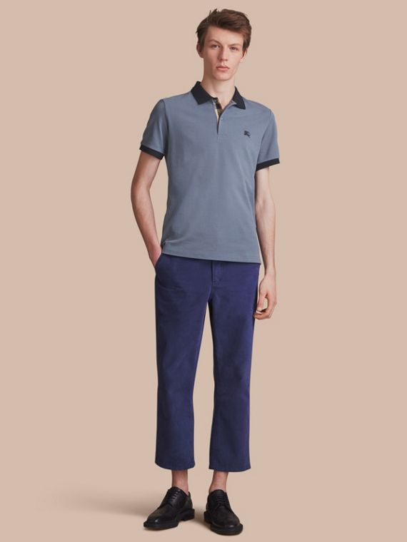 Two-tone Check Placket Cotton Piqué Polo Shirt Stone Blue