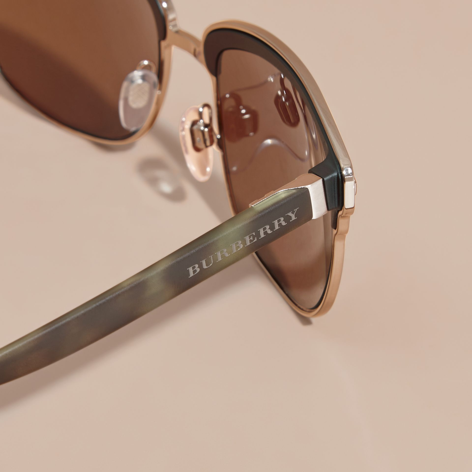 Textured Front Square Frame Sunglasses in Brown - Men | Burberry - gallery image 1